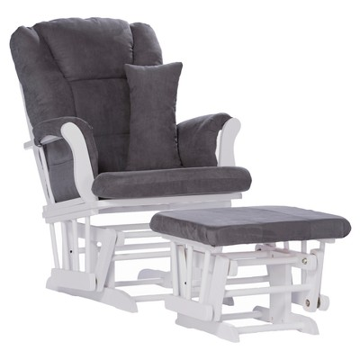 Stork Craft Tuscany White Glider and Ottoman - Gray