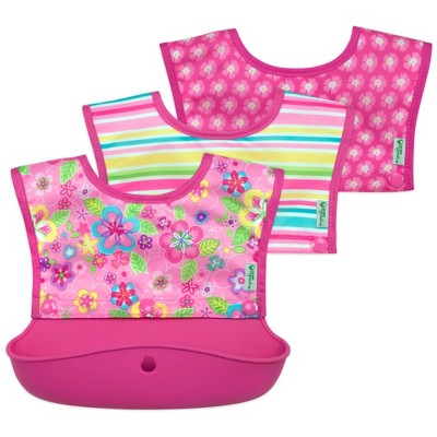 green sprouts Snap & Go Silicone Food Catcher Bib 3-in-1 Pink Flower