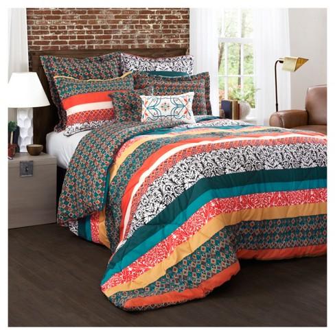 Turquoise Tangerine Boho Stripe Comforter Set 7pc Lush Décor Target