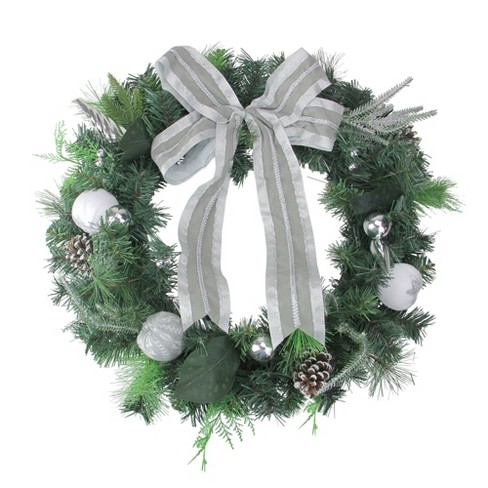 Silver Christmas Wreath.Northlight 24 Unlit White Silver Bow And Pine Cone Artificial Christmas Wreath