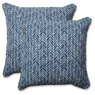Outdoor/Indoor Herringbone Ink Blue Throw Pillow Set of 2 - Pillow Perfect