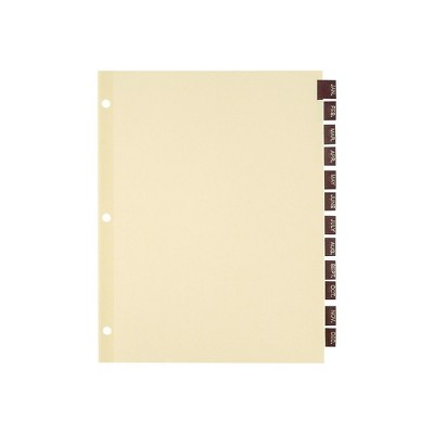 Staples Monthly Leather Dividers 12-Tab Red (13500/11328)