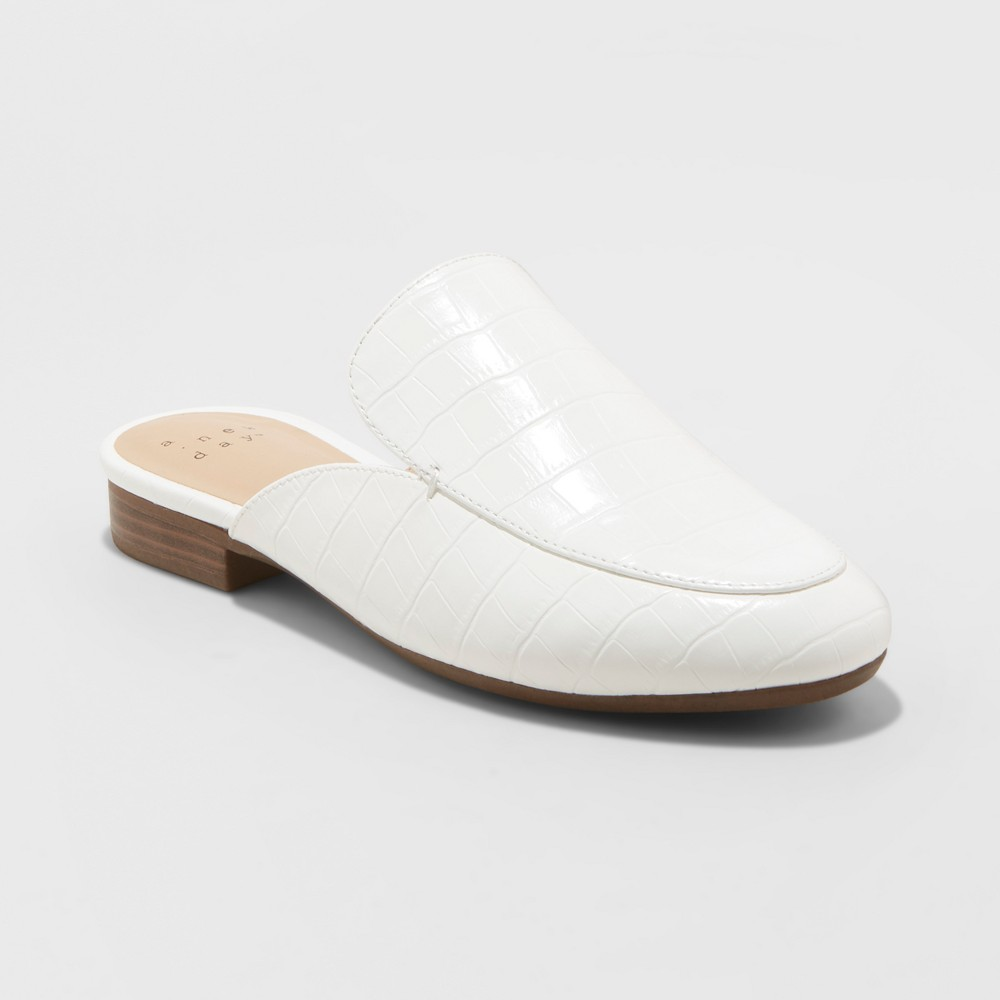 Women's Anney Backless Mules - A New Day White 12