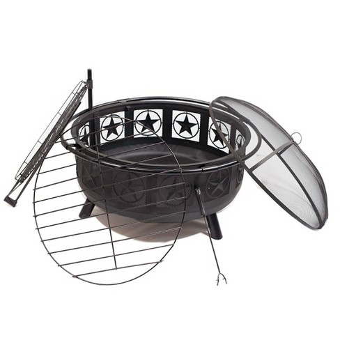 "Black All Star 30"" Fire Pit with Cooking Grate - Round - Sunnydaze Decor - image 1 of 4"
