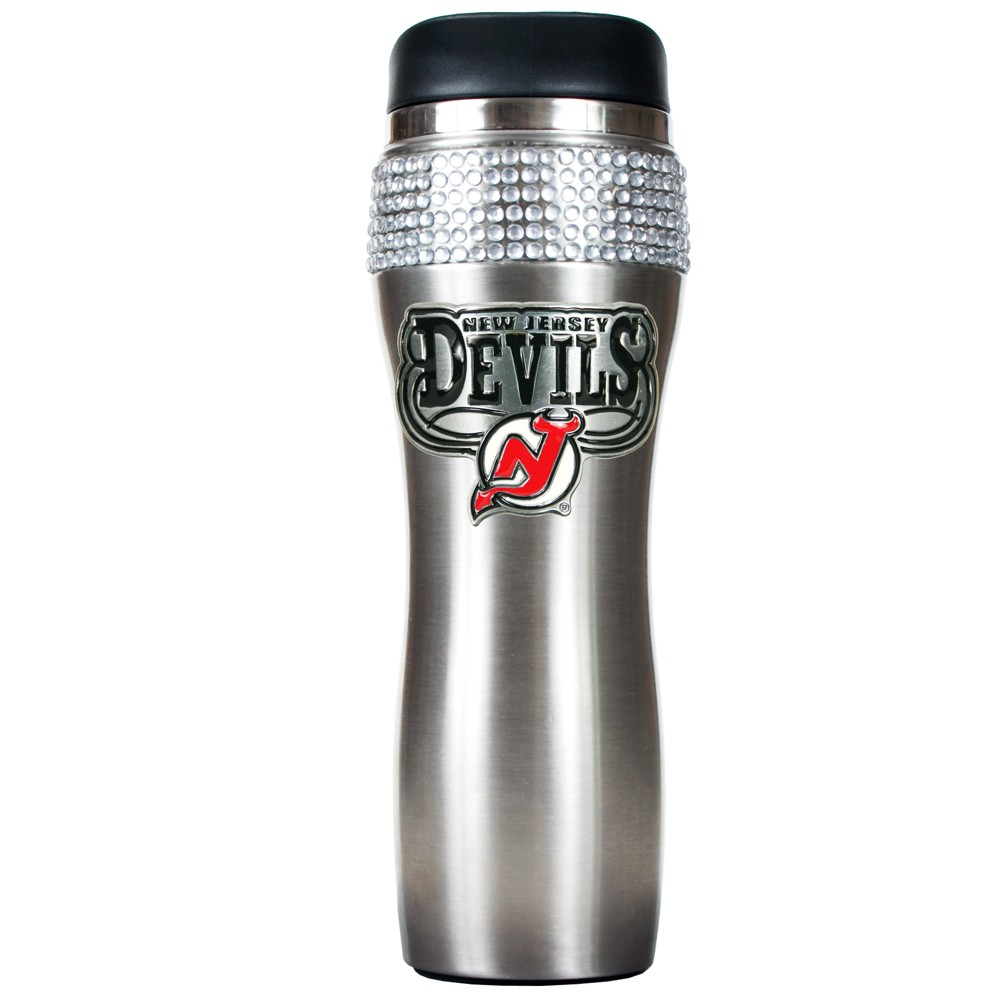 NHL New Jersey Devils 14oz Bling Silver Jeweled Travel Tumbler