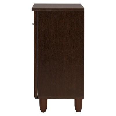 Winda Modern And Contemporary 2-Door Wooden Entryway Shoes Storage Cabinet - Dark Brown - Baxton Studio : Target