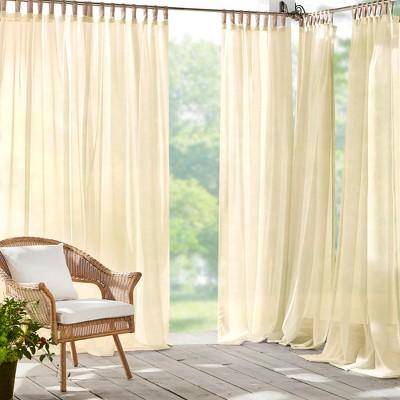 Darien Indoor/Outdoor Sheer Tab Top Window Curtain for Patio, Pergola, Porch, Cabana, Deck, Lanai - Elrene Home Fashions