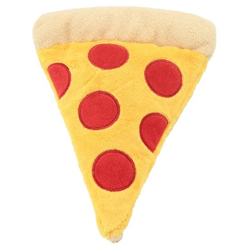 Plush Pizza with 2 Squeakers and Crinkle Dog Toy - M - Yellow - Boots & Barkley™ - image 1 of 1