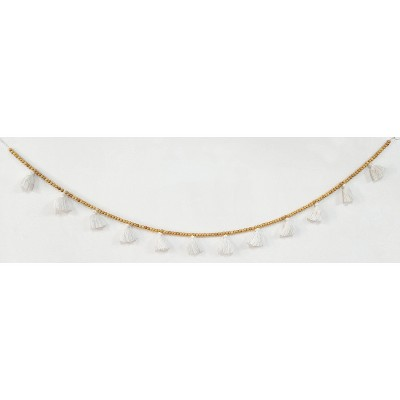 """60"""" Tassels and Wooden Beads Garland White - Opalhouse™"""