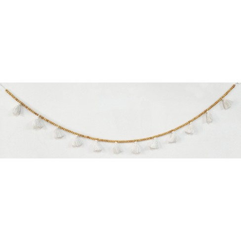 """60"""" Tassels and Wooden Beads Garland White - Opalhouse™ - image 1 of 1"""