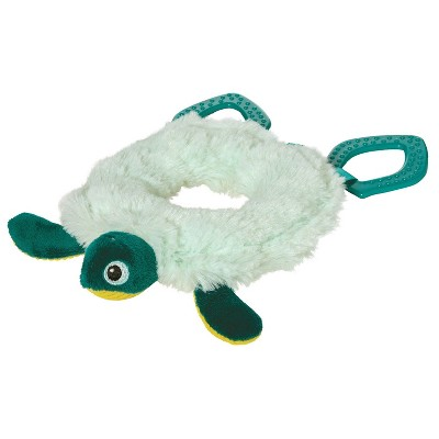 Manhattan Toy Theo Turtle Baby Toy Ring Rattle with Crinkle Paper and Textured Teethers
