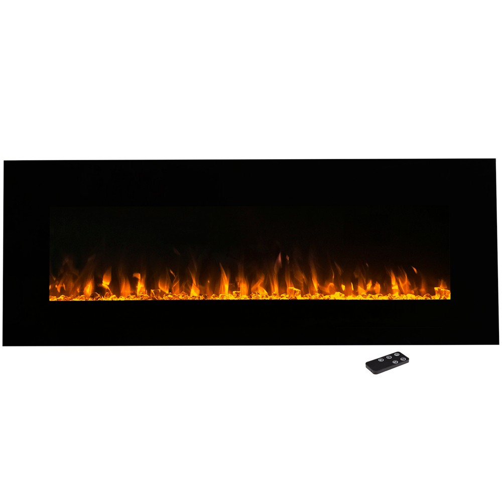 Electric Fireplace Wall Mounted- Led Fire And Ice Flame- With Remote 54 - Northwest, Black