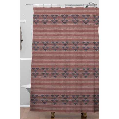 Marsala Stripe Shower Curtain Red