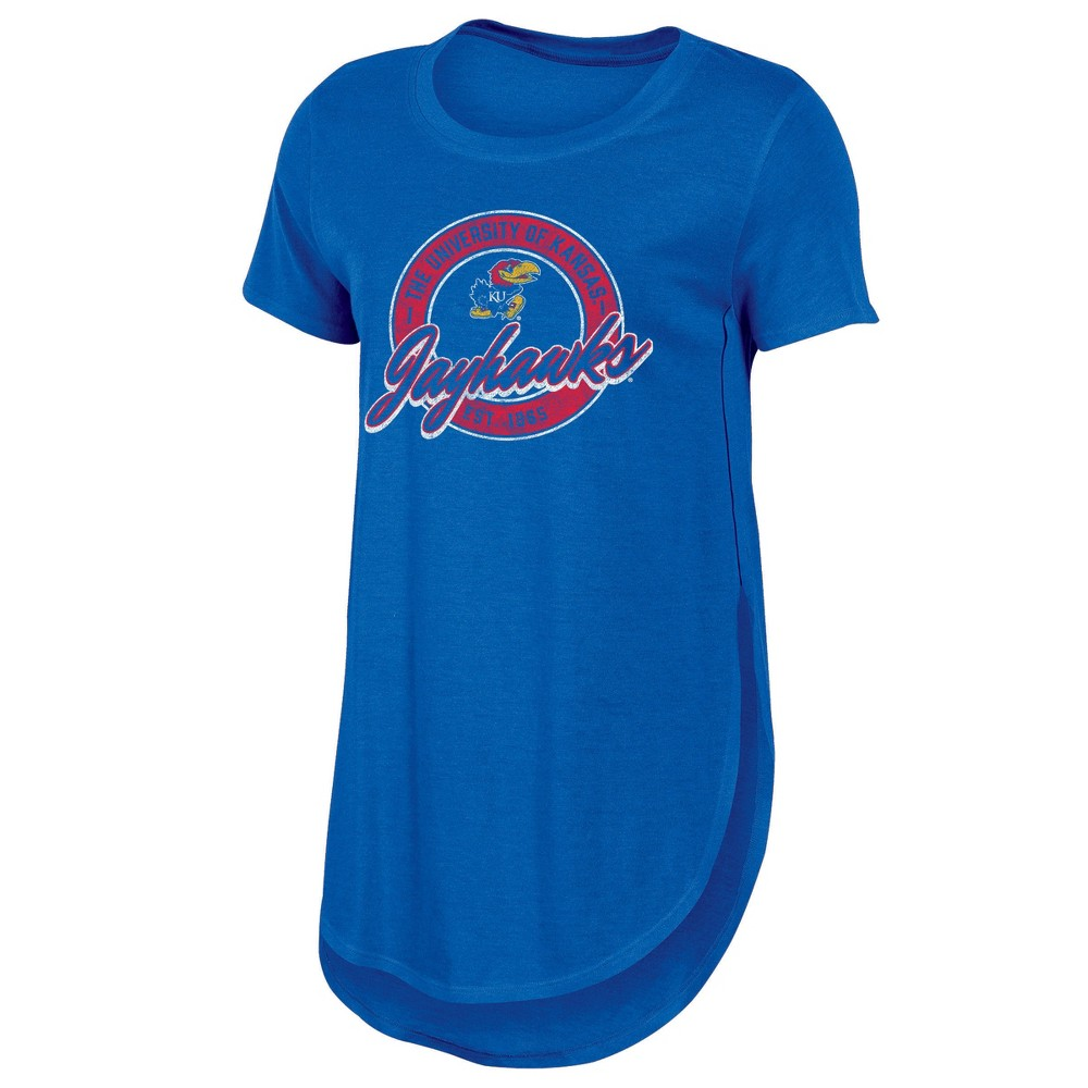 Kansas Jayhawks Women's Heathered Crew Neck Tunic T-Shirt - M, Multicolored