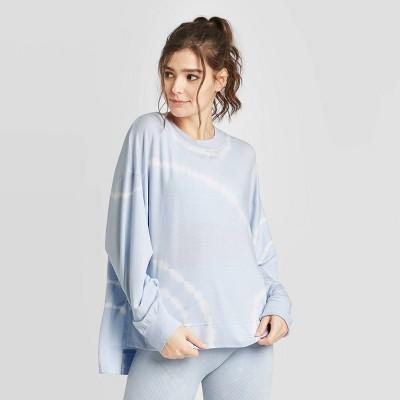 Women's Tie-Dye Cozy Long Sleeve Sweatshirt - Joylab™ Light Blue