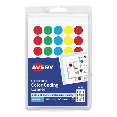 Avery Removable-Adhesive Translucent Dots For Handwrite Only, 3/4 Inch, Assorted Colors, pk of 1015
