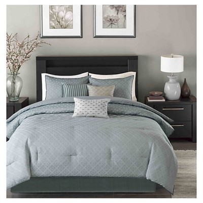 Hudson 7 Piece Comforter Set- Blue (Queen )