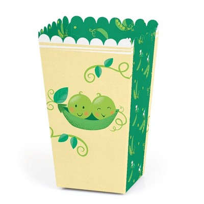Big Dot of Happiness Double the Fun - Twins Two Peas in a Pod - Baby Shower or First Birthday Party Favor Popcorn Treat Boxes - Set of 12