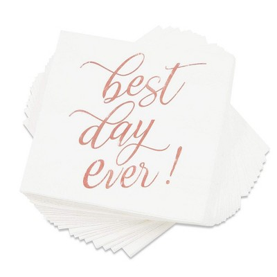 """Blue Panda """"Best Day Ever Disposable Paper Cocktail Napkins (50 Pack) 5 x 5 Inches, Rose Gold"""