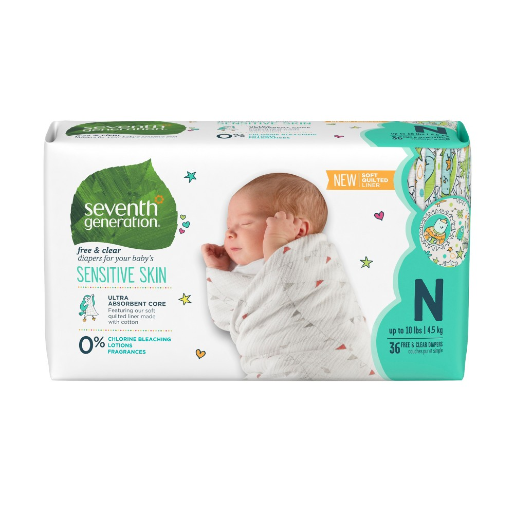 Seventh Generation Free & Clear Diapers Newborn - 36ct, Buff Beige