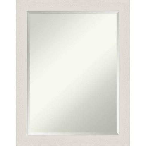 21 X 27 Rustic Plank White Framed Bathroom Vanity Wall Mirror Amanti Art Target