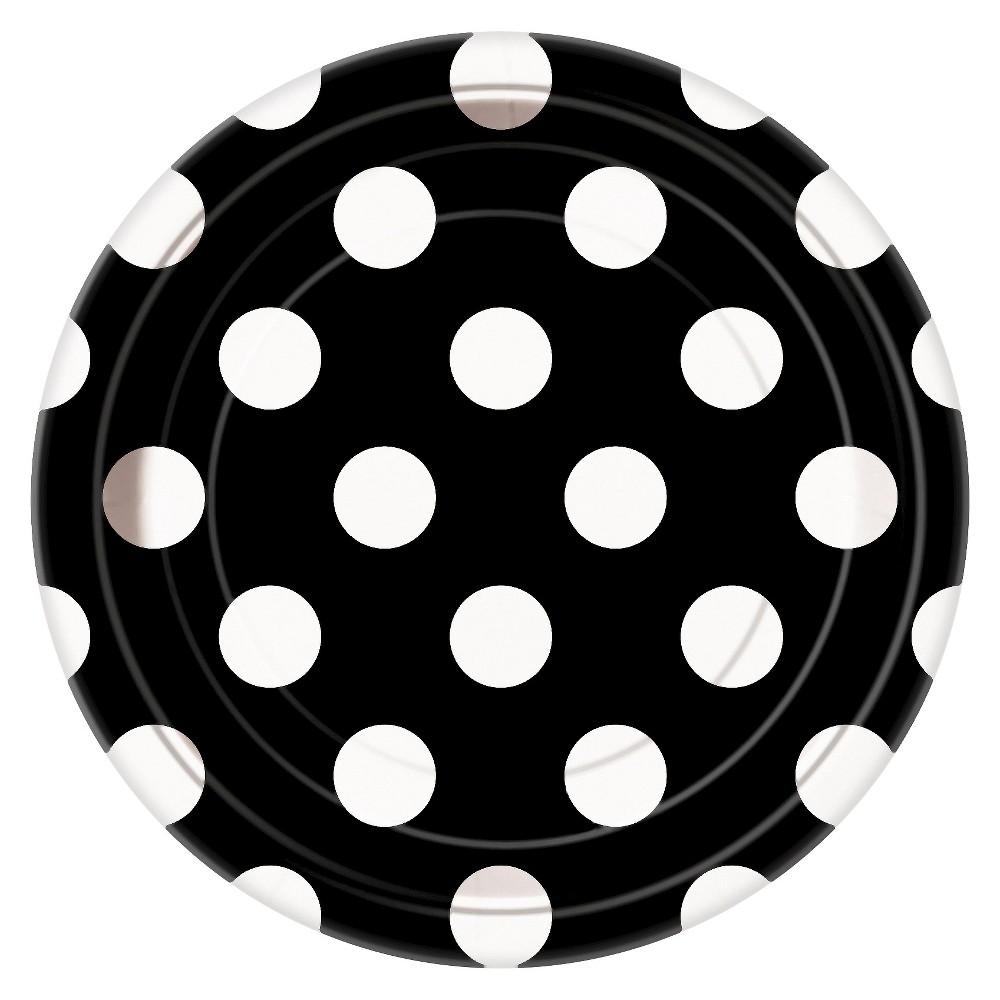 Image of 8ct Black & White Polka Dot Paper Dessert Plate