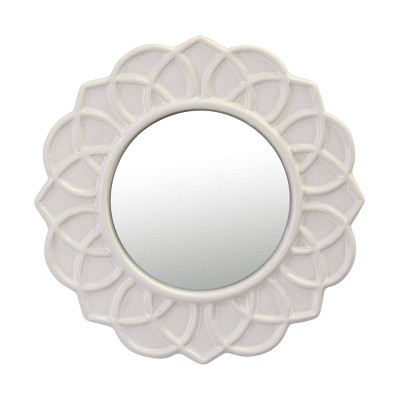 """9"""" Round Floral Ceramic Wall Hanging Mirror Ivory - Stonebriar Collection"""