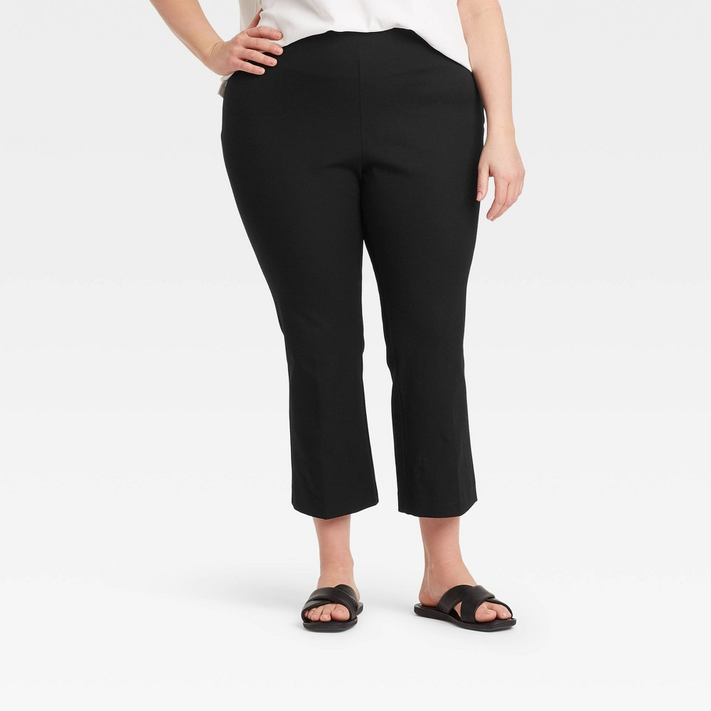 Women 39 S Plus Size High Rise Flare Cropped Pants A New Day 8482 Black 22w