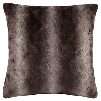 Brown Marselle Faux Fur Euro Throw Pillow (25 x25 )