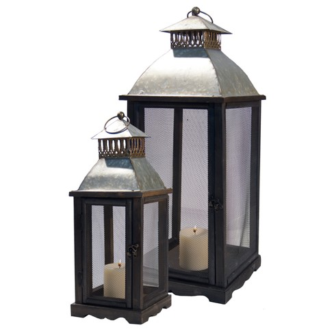 Decorative Lantern Candle Holder Set Gold 2pk - VIP Home & Garden - image 1 of 1