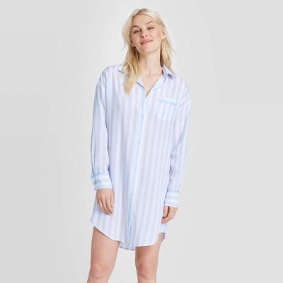 Women's Striped Simply Cool Button-Up Sleep Shirt - Stars Above™ Sky Blue M