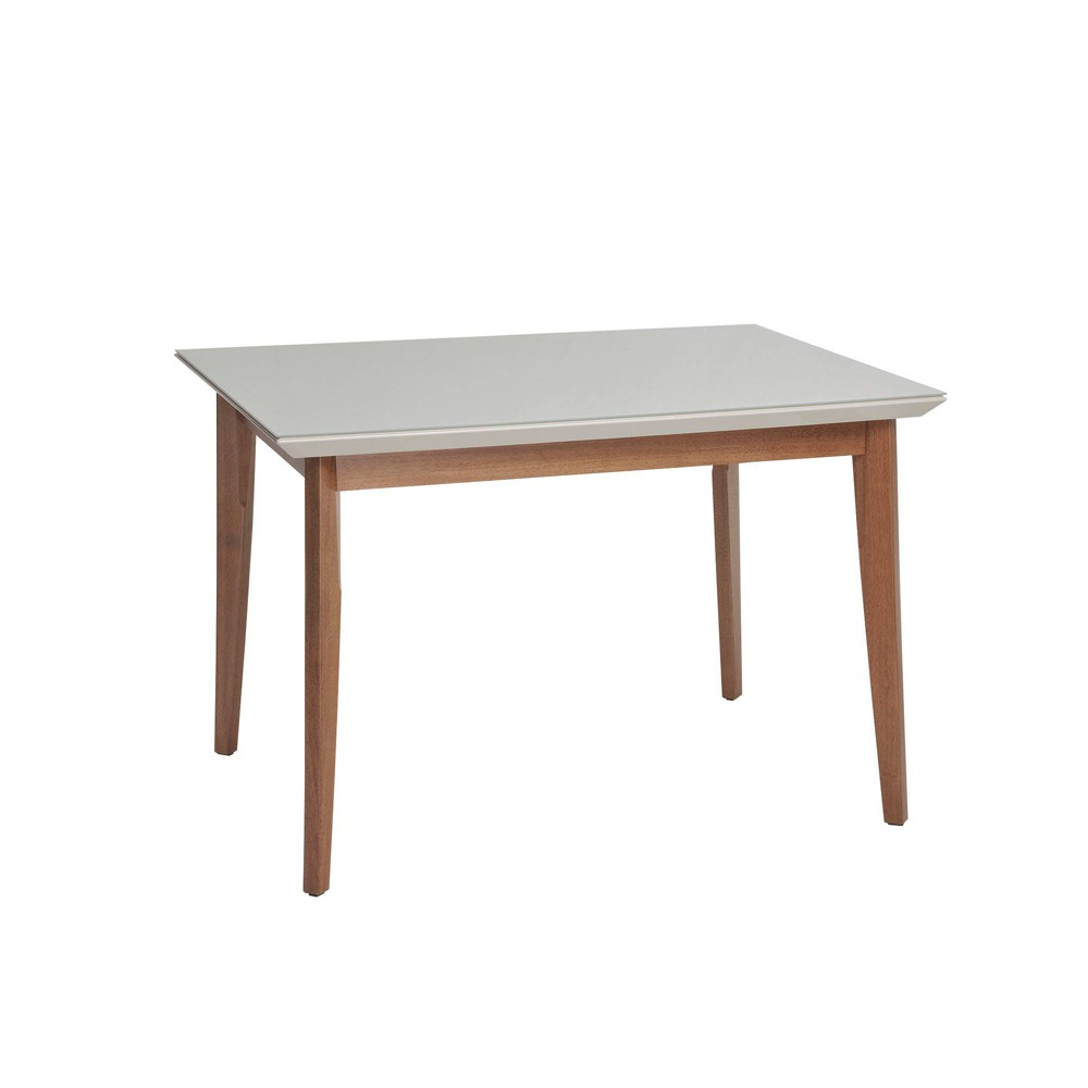 45.66 Lillian Natural Wood Modern Glass Top Dining Table with Solid Wood Legs Off-White (Beige) - Manhattan Comfort