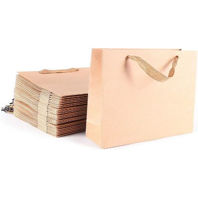 25 Pieces Kraft Paper Party Favor Bags - Brown Gift Wrapping Goodie Bag with Handle