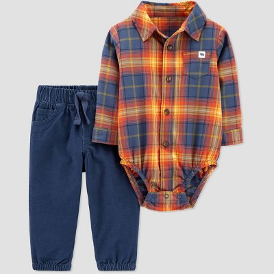 Baby Boys' Plaid Top & Bottom Set - Just One You® made by carter's Orange Newborn