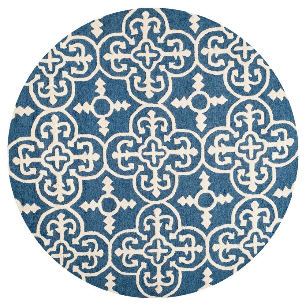 8' Geometric Area Rug Navy/Ivory (Blue/Ivory) - Safavieh