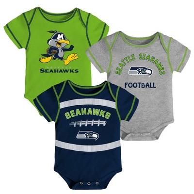 NFL Seattle Seahawks Baby Boys' Newest Fan 3pk Bodysuit Set - 0-3M