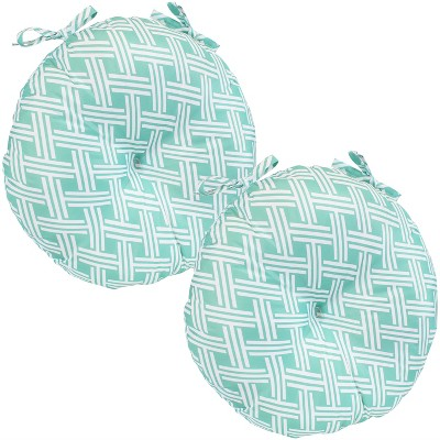 """Sunnydaze Indoor/Outdoor Polyester Replacement Round Bistro Chair Seat Cushion - 15"""" - Green Woven Diamond - 2pk"""
