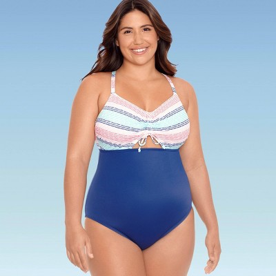 Women's Plus Size Slimming Control Tie-Front Cut Out One Piece Swimsuit - Beach Betty by Miracle Brands White Multi