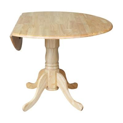 Round Drop Leaf Pedestal Dining Table   International Concepts