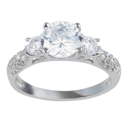 2 1/4 CT. T.W. Round-cut CZ Basket Set Polished Engagement Ring in Sterling Silver - image 1 of 2