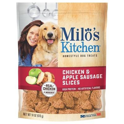 Milo's Kitchen Chicken and Apple Sausage Slice Chewy Dog Treats - 18oz