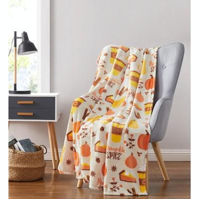 Kate Aurora Autumn Harvest Pumpkin Spice Lattes Ultra Soft & Plush Oversized Accent Throw Blanket