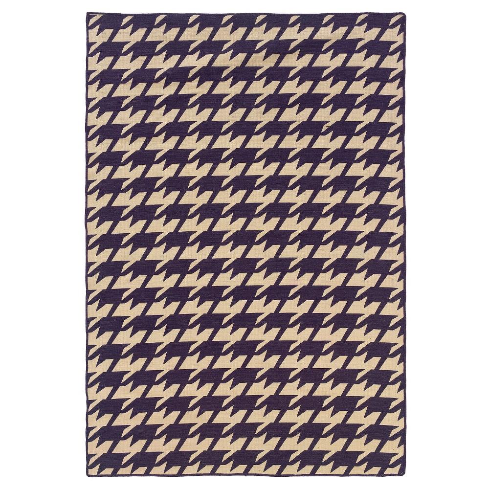 5'X7' Houndstooth Area Rug Purple - Linon
