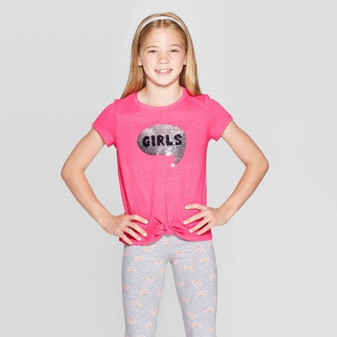 Girls' Short Sleeve Flip Sequin Girls Rule T-Shirt - Cat & Jack™ Dark Pink - image 1 of 4
