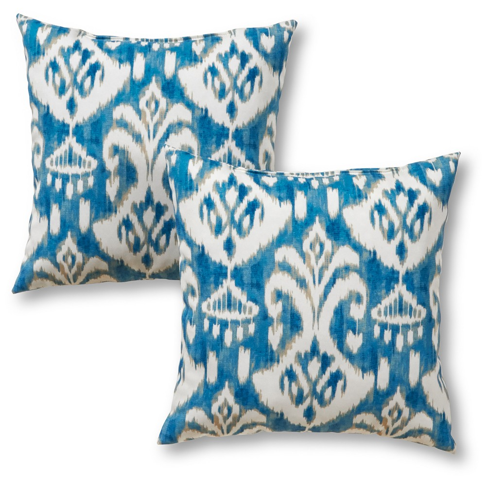 Image of 2pc Outdoor Throw Pillow Set - Blue/White - Greendale Home Fashions, Seaside