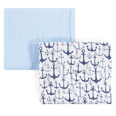 Yoga Sprout Baby Boy Cotton Muslin Swaddle Blankets, Blue Anchor, One Size