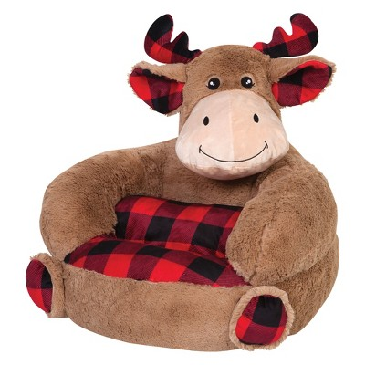 Children's Plush Buffalo Check Moose Character Chair Brown - Trend Lab