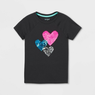 Girls' Flip Sequin Hearts Short Sleeve T-Shirt - Cat & Jack™ Charcoal Gray
