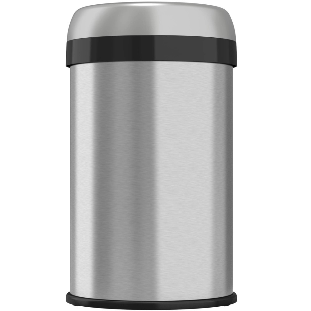 Image of 13gal Round Top Stainless Steel Trash Can and Recycle Bin with Dual Deodorizer - Halo, Silver