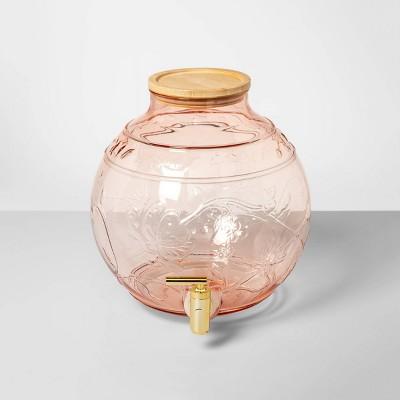 2qt Plastic Floral Embossed Beverage Dispenser Pink - Opalhouse™